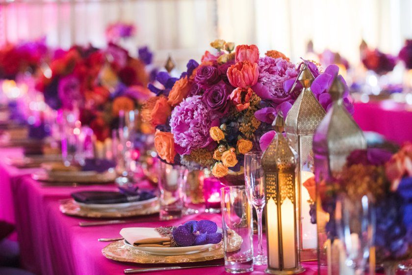 Moroccan+Inspired+Baby+Shower+Party+bright+colorful+florals+filled+the+tables