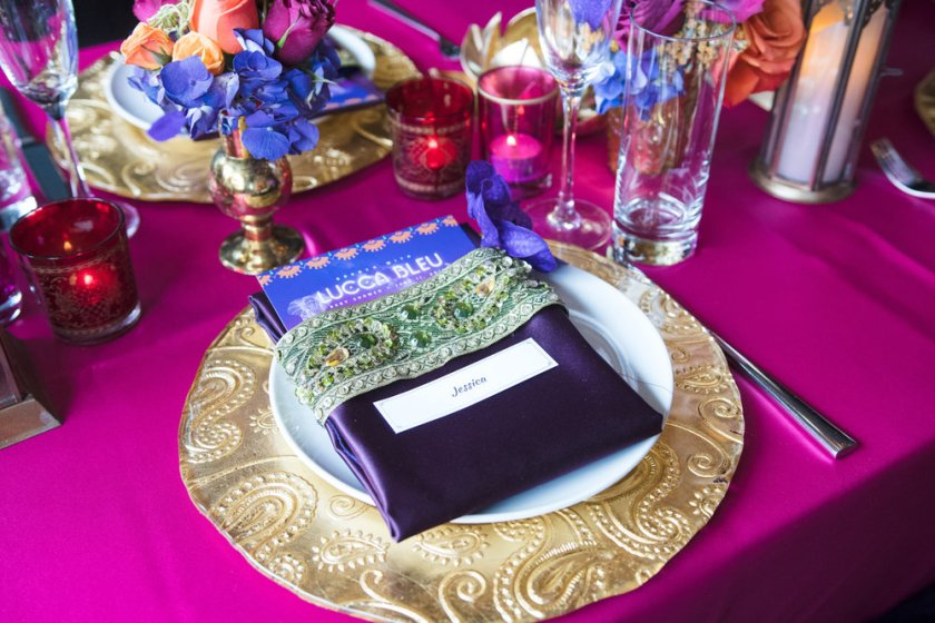 Moroccan+Inspired+Baby+Shower+Party+custom+linens+looked+beautiful+on+gold+chargers