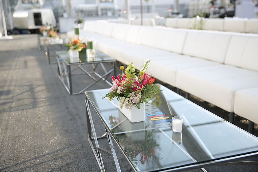 modern seating, grand opening, wmtv, shawna yamamoto, flowers, floral design, event decor